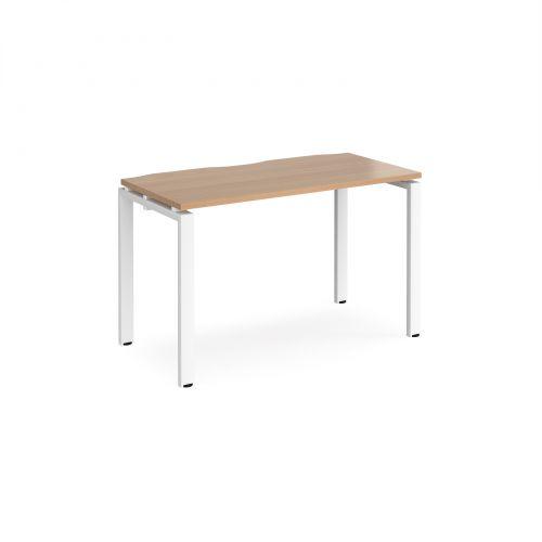 Adapt II single desk 1200mm x 600mm - white frame, beech top