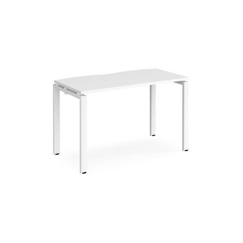 Adapt II single desk 1200mm x 600mm - white frame and white top