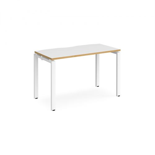 Adapt II single desk 1200mm x 600mm - white frame, white top with oak edging