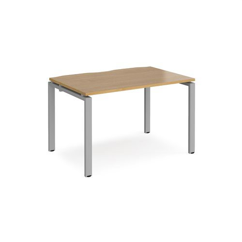 Adapt starter unit single 1200mm x 800mm - silver frame and oak top