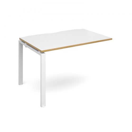 Adapt II add on unit single 1200mm x 800mm - white frame, white top with oak edging