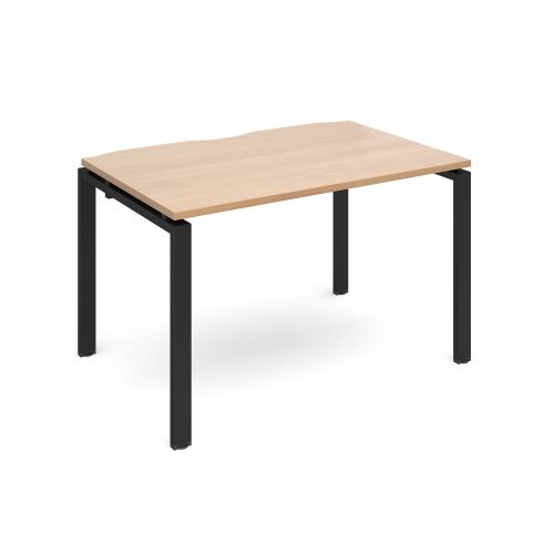 Adapt II single desk 1200mm x 800mm - black frame, beech top