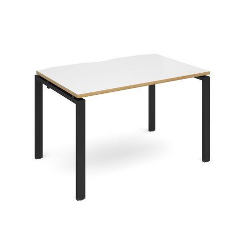 Adapt II single desk 1200mm x 800mm - black frame, white top with oak edging
