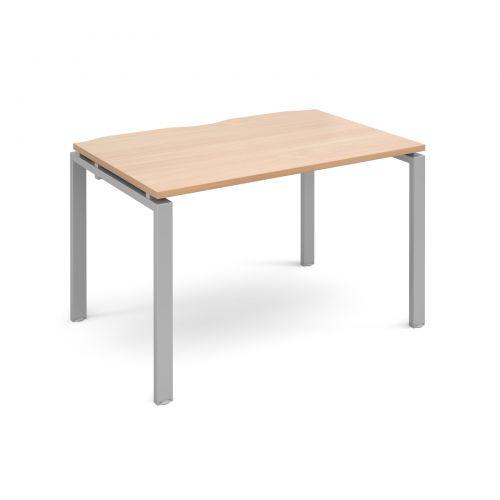 Adapt II single desk 1200mm x 800mm - silver frame, beech top