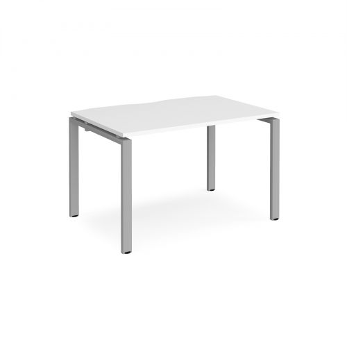 Adapt II single desk 1200mm x 800mm - silver frame and white top