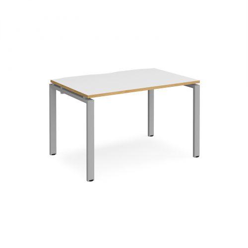 Adapt II single desk 1200mm x 800mm - silver frame, white top with oak edging