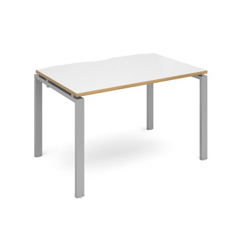 Adapt II starter unit single 1200mm x 800mm - silver frame, white top with oak edging