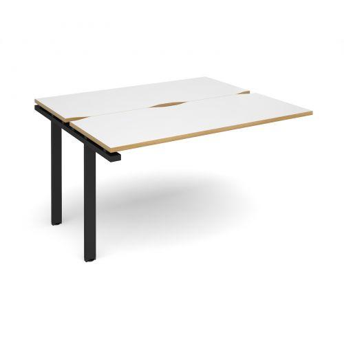 Adapt II add on unit single 1400mm x 1200mm - black frame, white top with oak edging
