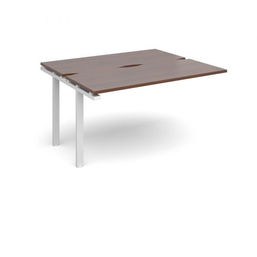 Adapt II add on units back to back 1400mm x 1200mm - white frame, walnut top