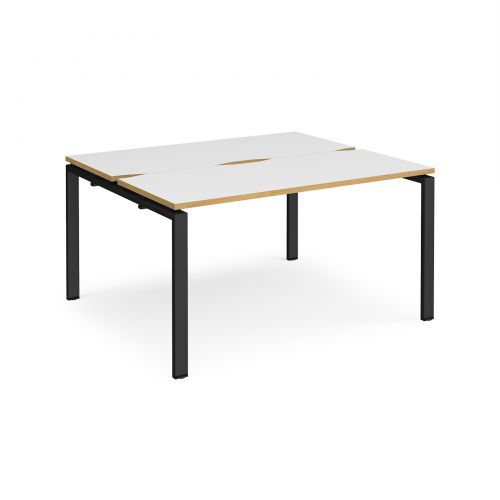 Adapt II back to back desks 1400mm x 1200mm - black frame, white top with oak edging