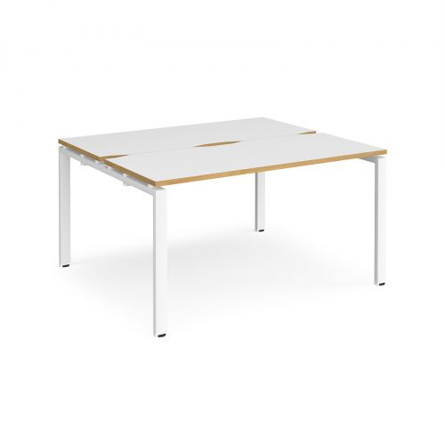 Adapt II back to back desks 1400mm x 1200mm - white frame, white top with oak edging