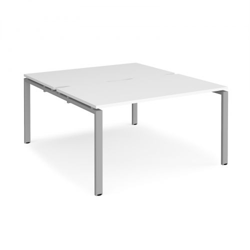 Adapt II back to back desks 1400mm x 1600mm - silver frame and white top