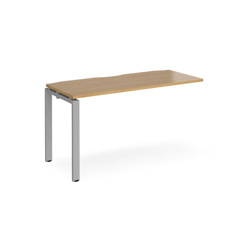 Adapt add on unit single 1400mm x 600mm - silver frame and oak top