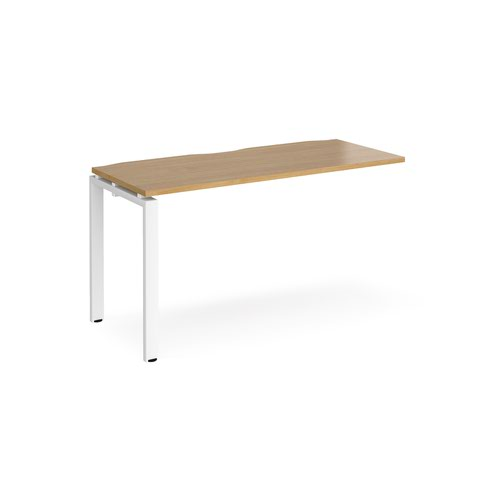 Adapt add on unit single 1400mm x 600mm - white frame and oak top