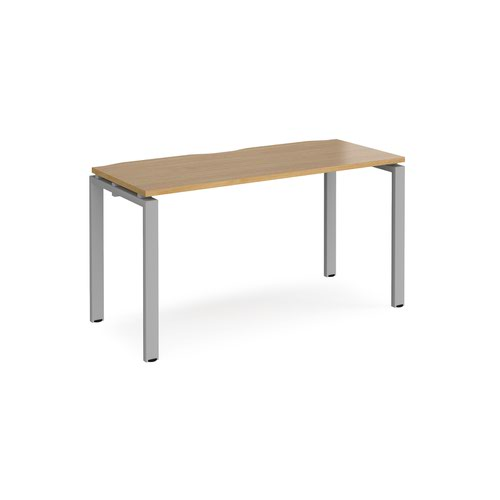Adapt starter unit single 1400mm x 600mm - silver frame and oak top