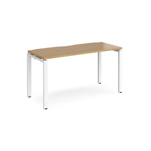 Adapt starter unit single 1400mm x 600mm - white frame and oak top