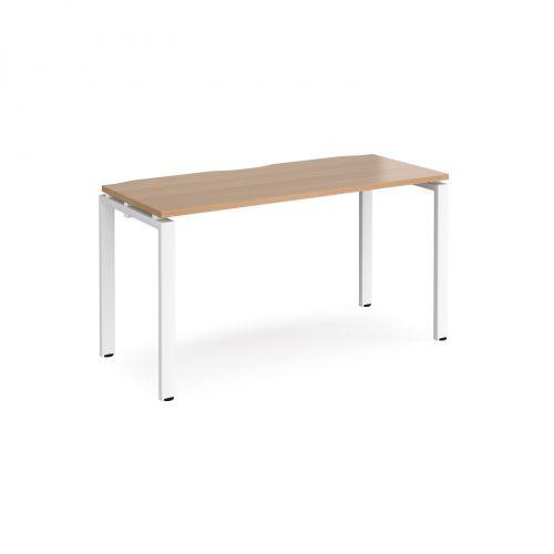 Adapt II single desk 1400mm x 600mm - white frame, beech top