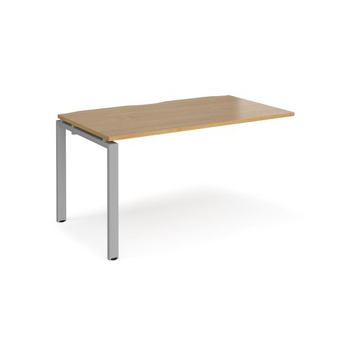 Adapt add on unit single 1400mm x 800mm - silver frame and oak top