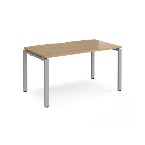 Adapt starter unit single 1400mm x 800mm - silver frame and oak top