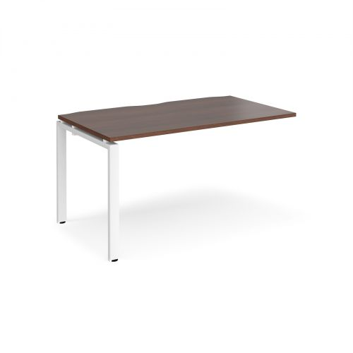 Adapt II add on unit single 1400mm x 800mm - white frame, walnut top