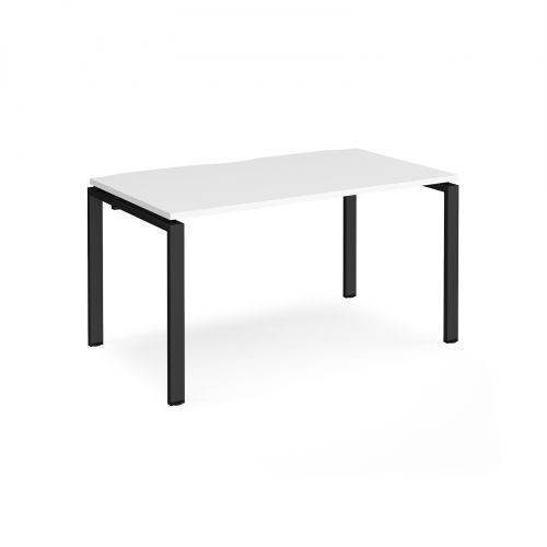 Adapt II single desk 1400mm x 800mm - black frame, white top