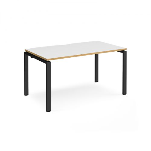 Adapt II single desk 1400mm x 800mm - black frame, white top with oak edging