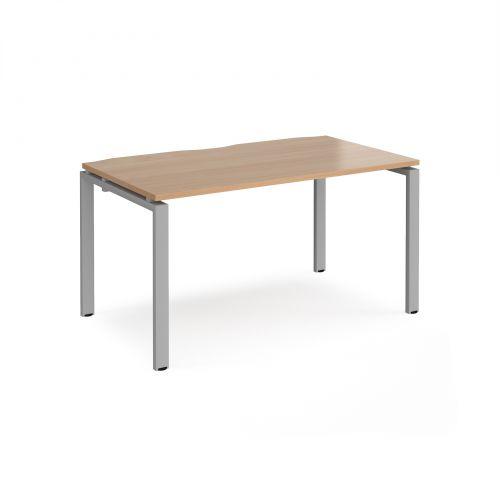 Adapt II single desk 1400mm x 800mm - silver frame, beech top