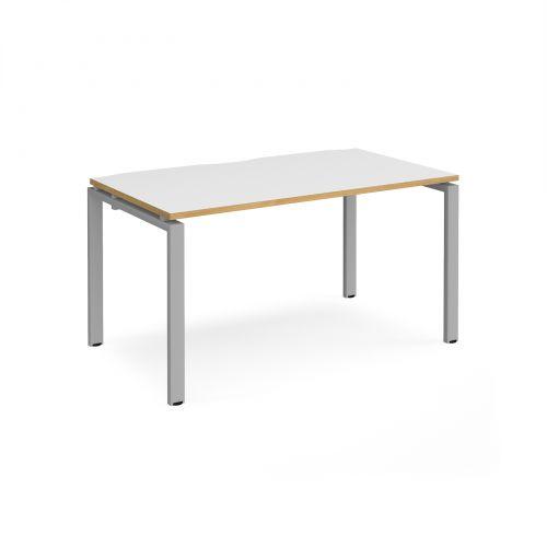 Adapt II single desk 1400mm x 800mm - silver frame, white top with oak edging