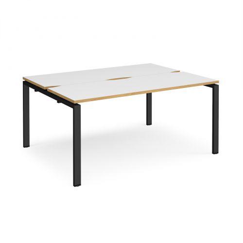 Adapt II back to back desks 1600mm x 1200mm - black frame, white top with oak edging