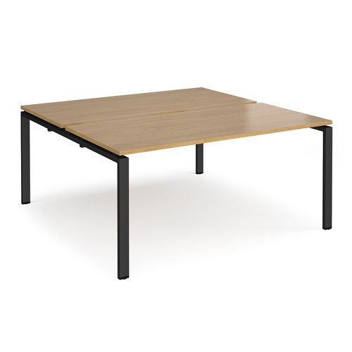 Adapt back to back desks 1600mm x 1600mm - black frame and oak top