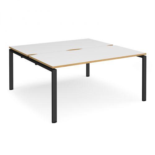 Adapt II back to back desks 1600mm x 1600mm - black frame, white top with oak edging