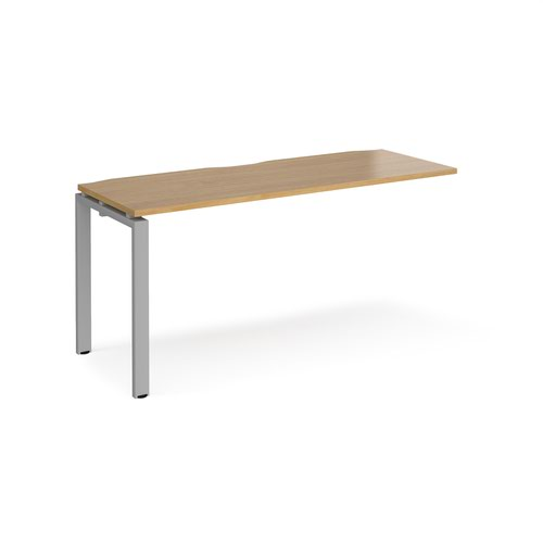 Adapt add on unit single 1600mm x 600mm - silver frame and oak top