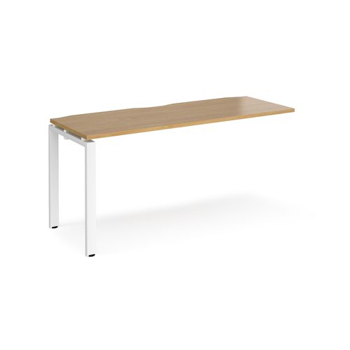 Adapt add on unit single 1600mm x 600mm - white frame and oak top
