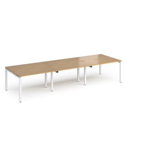 Adapt triple back to back desks 3600mm x 1200mm - white frame and oak top