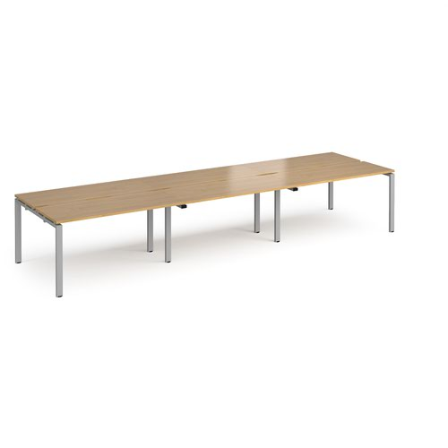 Adapt triple back to back desks 4200mm x 1200mm - silver frame and oak top