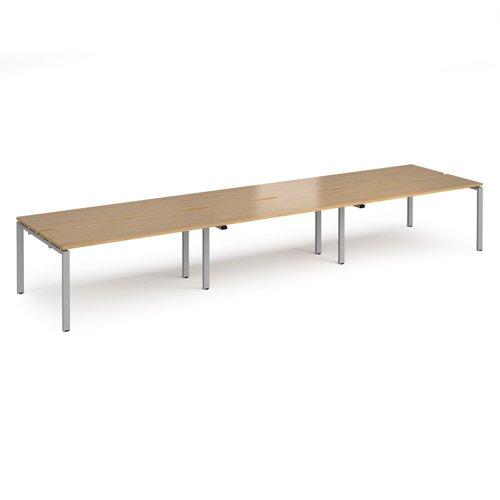 Adapt triple back to back desks 4800mm x 1200mm - silver frame and oak top