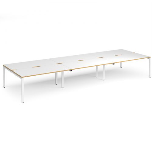 Adapt II triple back to back desks 4800mm x 1600mm - white frame, white top with oak edging