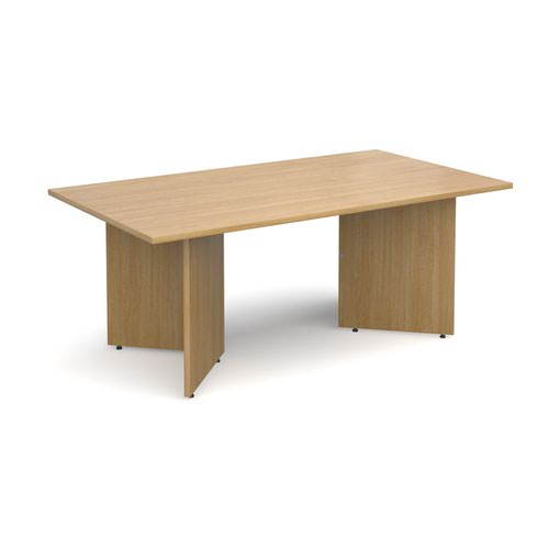 Image for Arrow head leg rectangular boardroom table 1800mm x 1000mm - oak