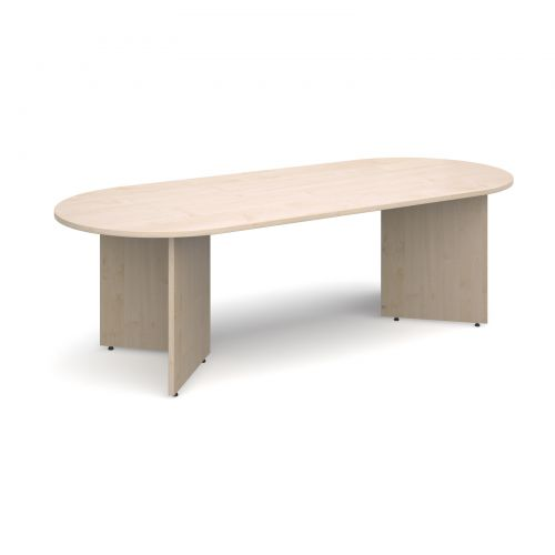 Image for Arrow head leg radial end boardroom table 2400mm x 1000mm - maple
