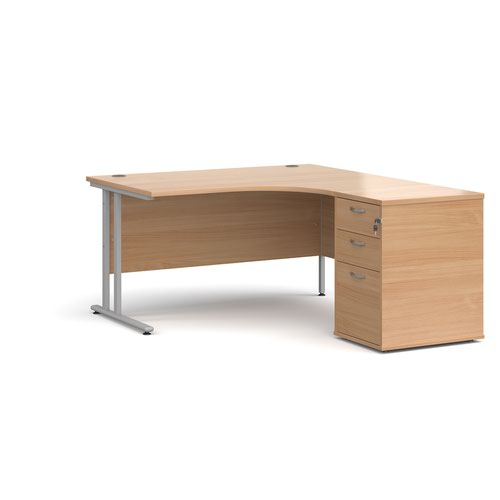 Maestro 25 right hand ergonomic desk 1400mm with silver cantilever frame and desk high pedestal - beech