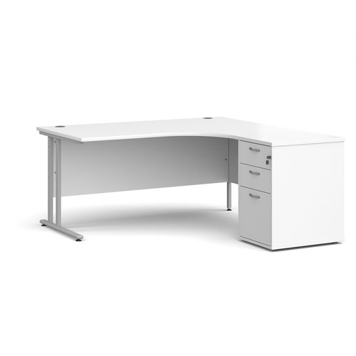 Maestro 25 right hand ergonomic desk 1600mm with silver cantilever frame and desk high pedestal - white