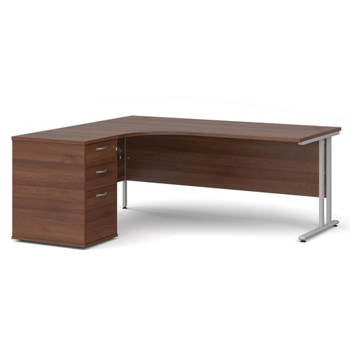 Maestro 25 left hand ergonomic desk 1800mm with silver cantilever frame and desk high pedestal - walnut