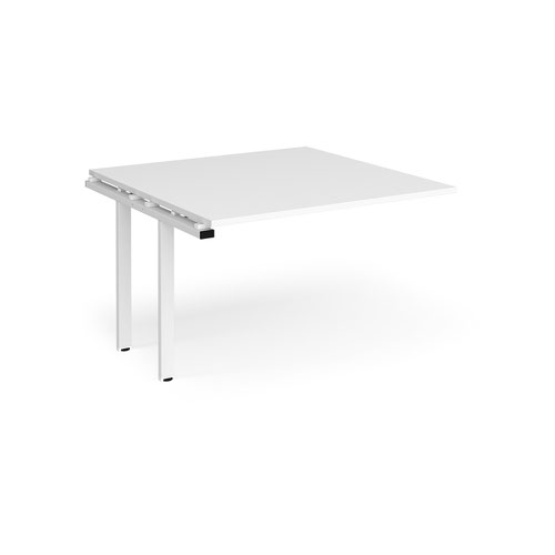 Adapt boardroom table add on unit 1200mm x 1200mm - white frame and white top