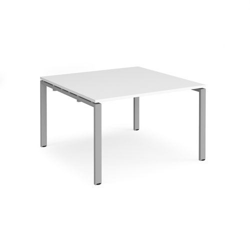 Adapt square boardroom table 1200mm x 1200mm - silver frame and white top
