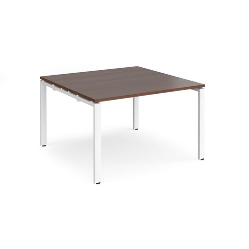 Adapt boardroom table starter unit 1200mm x 1200mm - white frame and walnut top