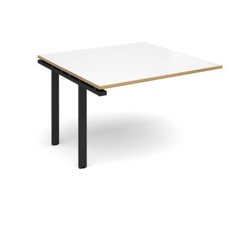 Image for Adapt II boardroom table add on unit 1200mm x 1200mm - black frame and white top with oak edging