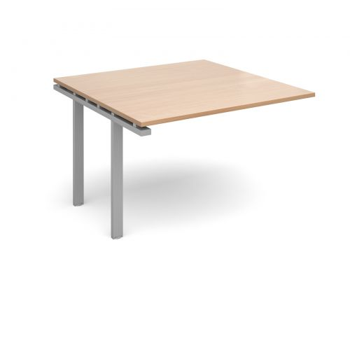 Image for Adapt II boardroom table add on unit 1200mm x 1200mm - silver frame and beech top