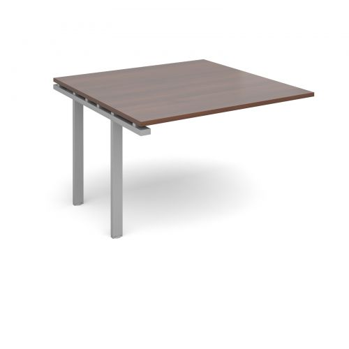 Image for Adapt II boardroom table add on unit 1200mm x 1200mm - silver frame and walnut top