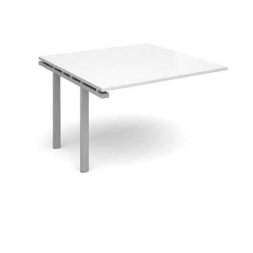 Image for Adapt II boardroom table add on unit 1200mm x 1200mm - silver frame and white top