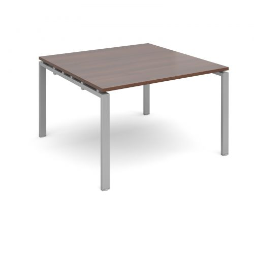 Image for Adapt II boardroom table starter unit 1200mm x 1200mm - silver frame and walnut top